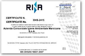 Certificazione BS OHSAS 18001:2007 - ACIAM