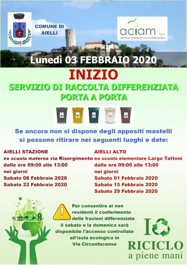 MANIFESTO INIZIO RACCOLTA DIFFERENZIATA AIELLI Febbraio 2020