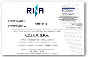 Certificato 45001 Aciam